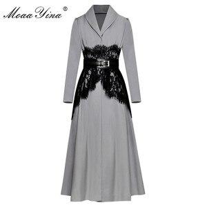 Moaayina cinto de renda casual, casaco corta-vento longo de manga longa, casual, vintage, de alta qualidade, design moderno
