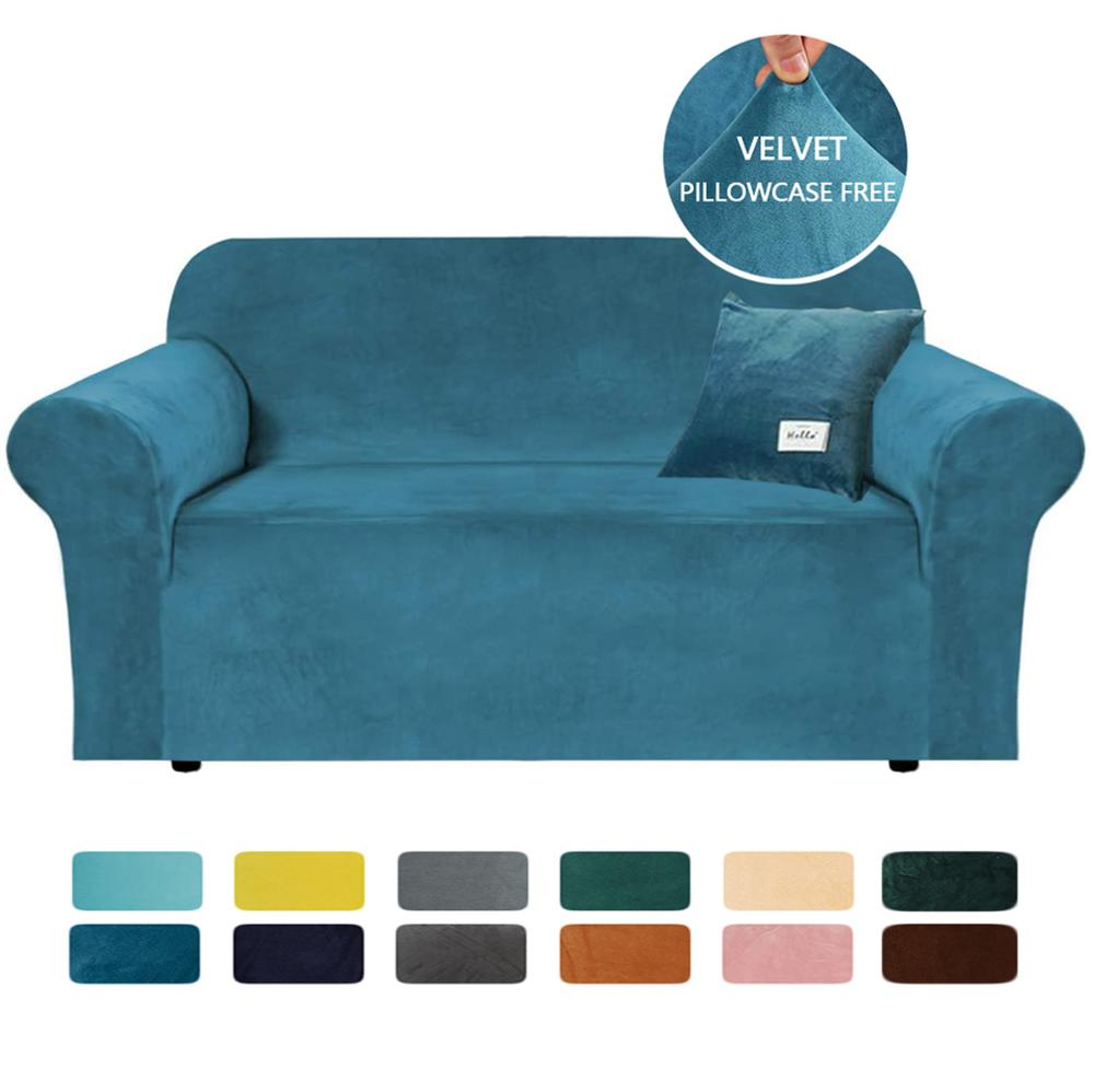 Housse de canapé en velours de couleur unie housse de fauteuil élastique pour salon housse de canapé dangle extensible en forme de L avec taie doreiller