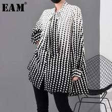 [EAM] femmes motif imprimé en mousseline de soie grande taille Blouse nouveau noeud col à manches longues coupe ample chemise mode printemps automne 2021 1R2030