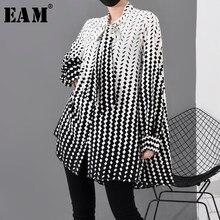 [Eam] 女性柄プリントシフォンビッグサイズブラウス新ボウカラー長袖ルーズフィットシャツファッション春秋2021 1R2030