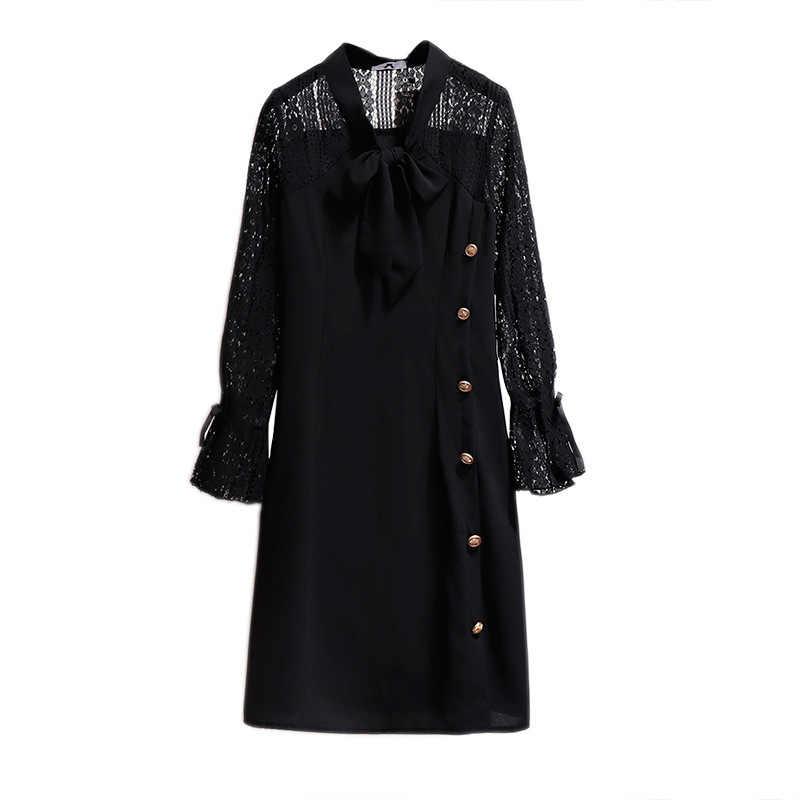 2019 sonbahar kış artı boyutu elbise kadınlar için büyük gevşek rahat uzun kollu dantel düğme V boyun elbiseler siyah 4XL 5XL 6XL 7XL