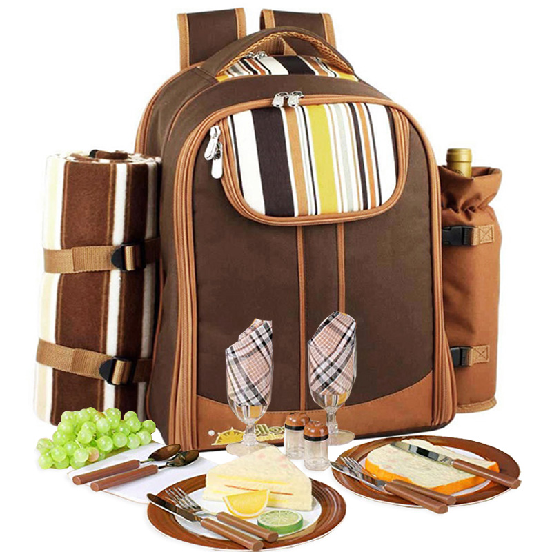 Sacchetto di Picnic di campeggio Portatile zaino con posate borsa frigo cubiertos set da picnic per 4 di Campeggio sacchetti più freddi con spedizioni gratuite in coperta