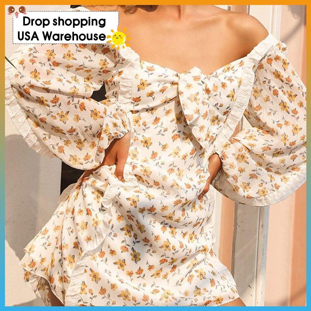 Модное осеннее новое платье с квадратным воротником и рукавами