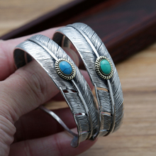 S925 Sterling Silver Jewelry Vintage Thai Silver Simple Feather Inlaid Turquoise Men Adjusting Bracelet
