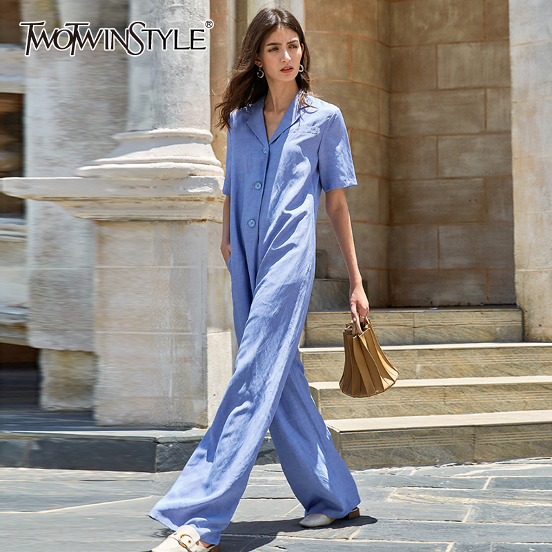 TWOTWINSTYLE Casual Loose Jumpsuits For Female Lapel Collar Half Sleeve High Waist Wide Leg Jumpsuit For Female Clothes 2020 New