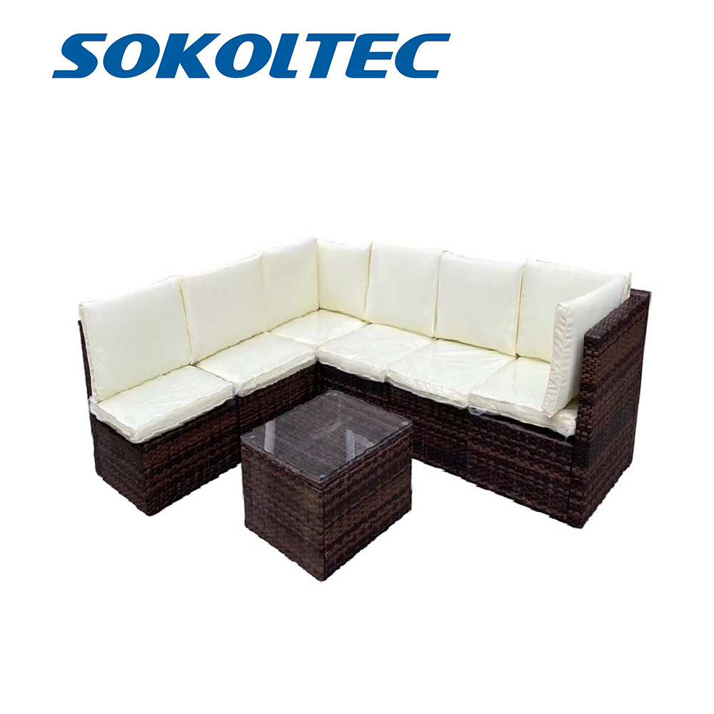 SOKOLTEC High End Outdoor Sectional Sofas Teak Frame Patio Garden Furniture Rattan Wicker Sofa Sets OP2450