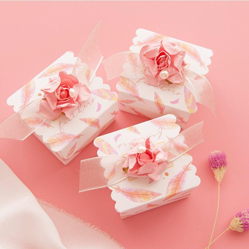 20 шт./лот, дизайн мечты, розовая Свадебная коробка для конфет, кружевная бумажная коробка с цветами, Рождественская коробка, упаковочные коробки для шоколада, вечерние принадлежности