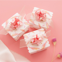 20pcs/lot Dream Design Pink Wedding candy box Lace flowers paper box christmas box chocolate packaging boxes Party Supplies