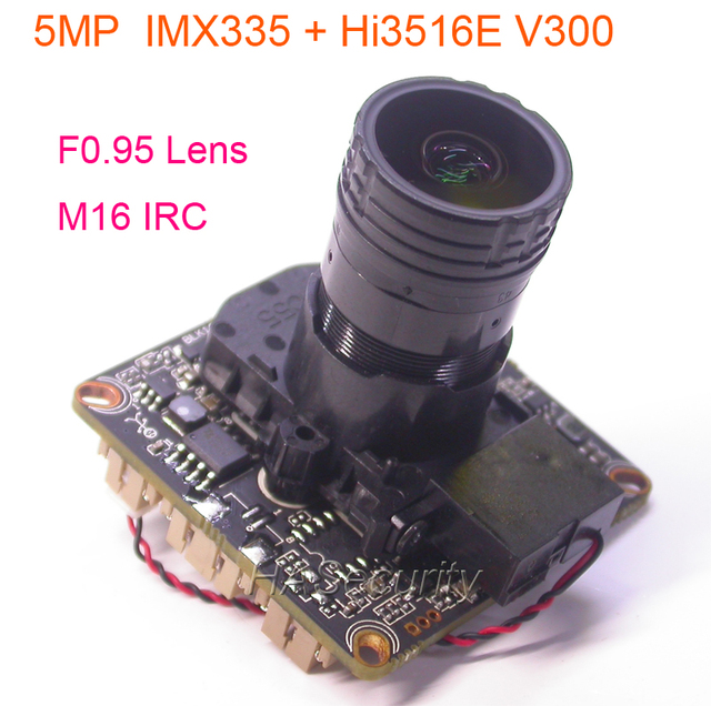"F0.95 lens M16 IRC filter 1/2. 8 ""SONY STARVIS IMX335 CMOS image sensor + Hi3516E V300 CCTV IP camera PCB board module + LAN kabel"