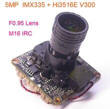 """F0.95 lente M16 IRC filtro 1/2. 8 """"SONY STARVIS IMX335 CMOS sensore di immagine + Hi3516E V300 CCTV IP camera PCB board modulo + LAN via cavo"""