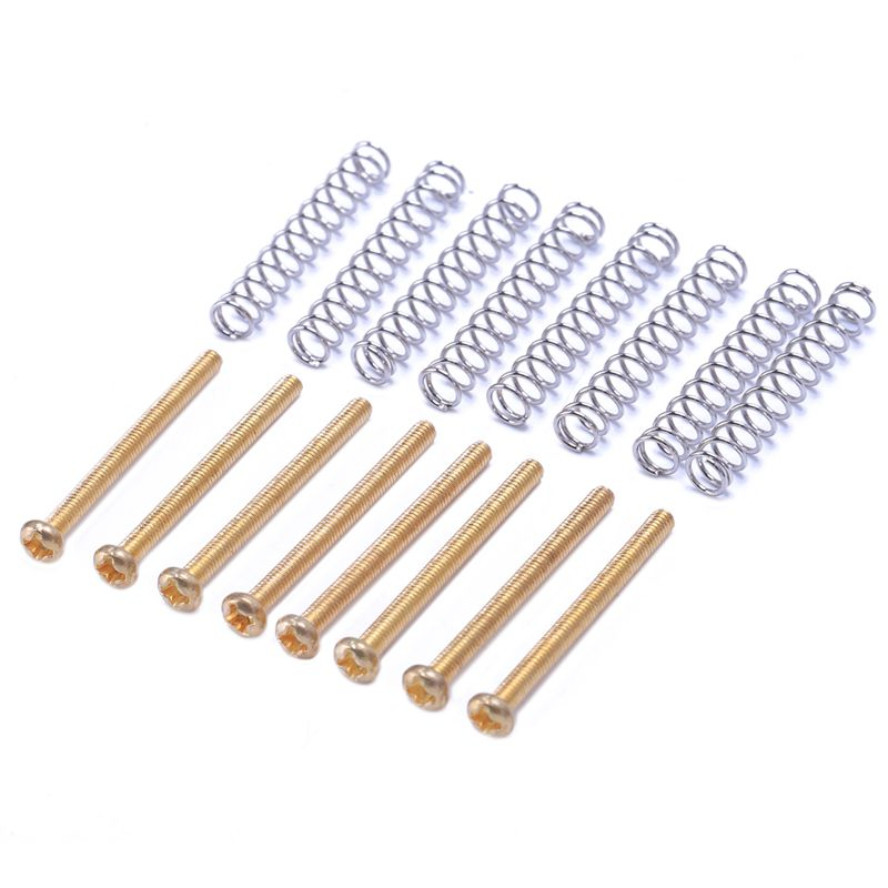 8 Pcs M2.5x32MM Electric Guitar Humbucker Pickups Adjust Height Screw and Spring - Pitch 0.4mm - gold