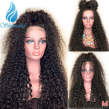 SMD 13*6 Brazilian Kinky Curly Lace Front Wigs for Black Women Middle Ration Remy Human Hair Glueless Lace Wigs Bleached Knotes - DISCOUNT ITEM  30% OFF All Category