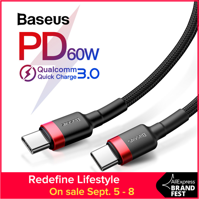Baseus USB Type C to USB Type C Cable for Samsung Galaxy S9 Plus Support PD 60W QC3.0