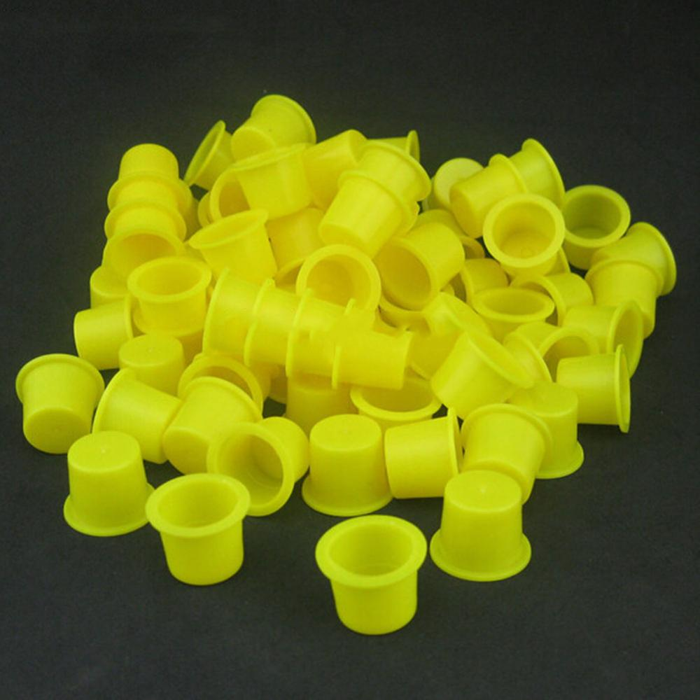 100pcs Yellow Plastic Disposable Microblading Tattoo Accessories Permanent Skin Makeup Tattoo Ink Cups