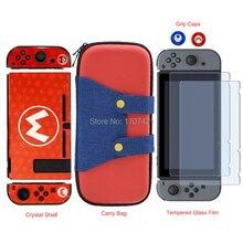 NEUE für Nintend Schalter NS NX Konsole Durchführung Lagerung Tasche + Shell Abdeckung Fall + Gehärtetem Glas Screen Protector + 2 Grip Caps