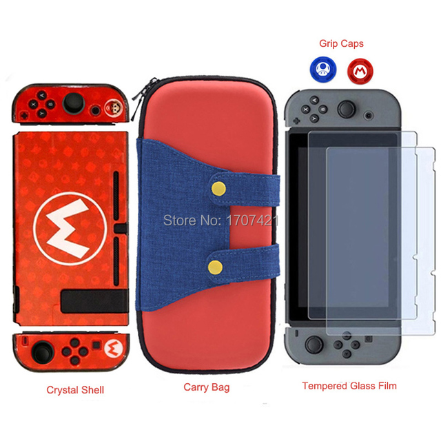 NEW for Nintend Switch NS NX Console Carrying Storage Bag + Shell Cover Case + Tempered Glass Screen Protector + 2 Grip Caps
