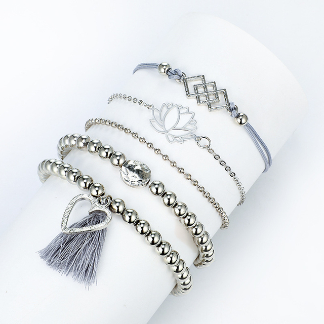 2021 Bohemian Bracelets & Bangles Set Vintage Bead Boho Charm Bracelet For Women Jewelry Accessories Pulseras Mujer Bijoux Femme 4