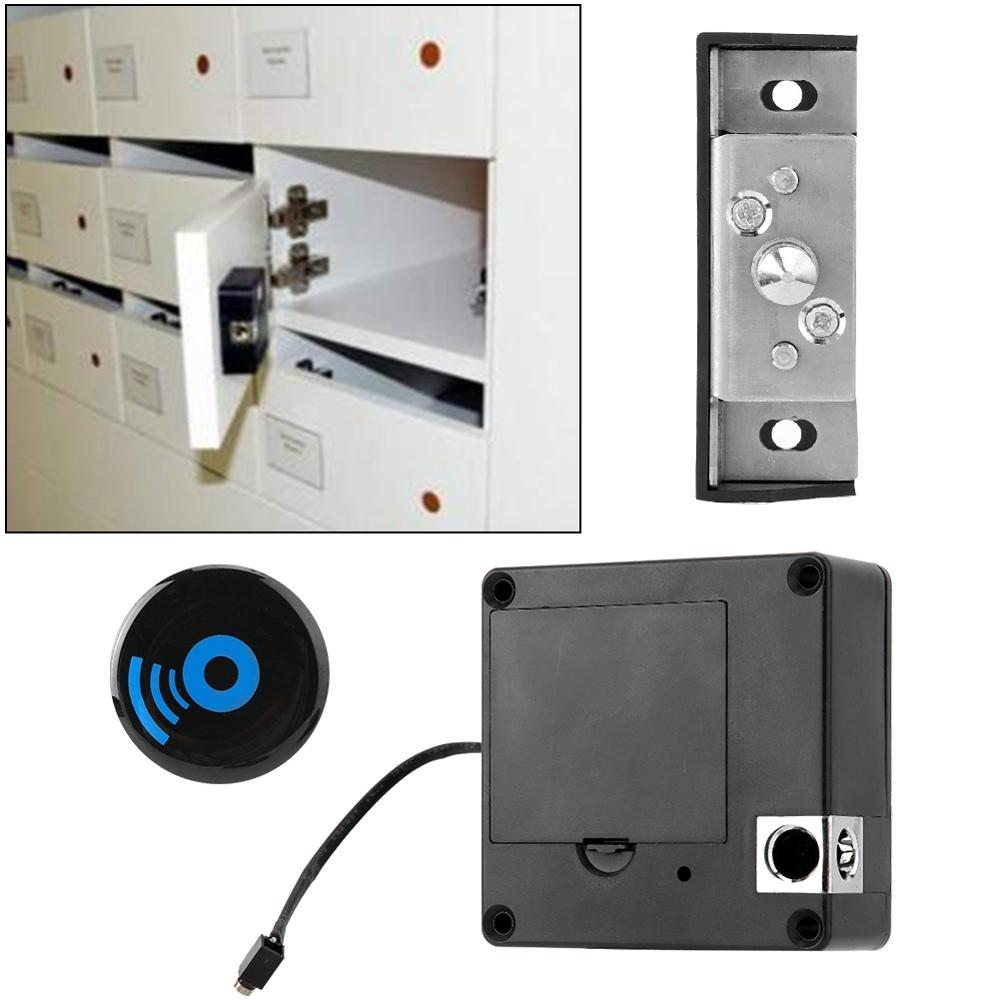 Fechadura 60m Remote Distance Punch Free Keyless Electronic Drawer Cabinet Lock High-frequency IC Card Induction Unlock Black