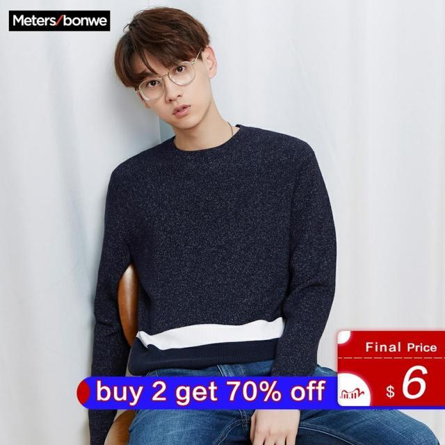 ¡Novedad! Jersey de punto de algodón de manga larga de otoño para hombre de Metersbonwe, ropa de alta calidad