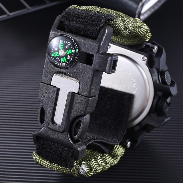 AIDIS Survive Outdoor Watch Emergency with Night Vision 30M Waterproof Paracord Knife Compass Whistles First Aid Kits G Style 3