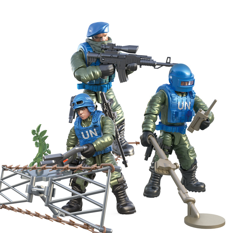 Mini Soldier Set United Nations peacekeeping force Figurines with Building Blocks Gun Army Compatible Major Brands Toys Gift 1
