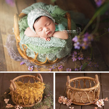 Newborn Photography Props Girl Round Vine Woven Basket Baby Photo Shoot Chair Bebe Poser Container Studio Fotografie Accessories