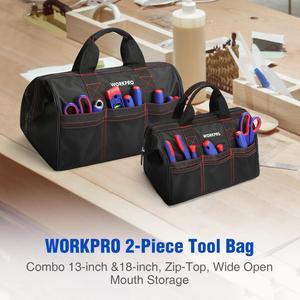 """Image 2 - WORKPRO 2 Stück Werkzeug Tasche Combo 13 """"& 18"""" Werkzeuge Taschen Wasserdichte Reise Handtaschen Robust Taschen"""