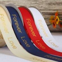 Высокое качество 25 мм Золотой атласная лента для оторочки для Подарочная коробка, Подарочная коробка с лентой 23 м/рулон любовь навсегда