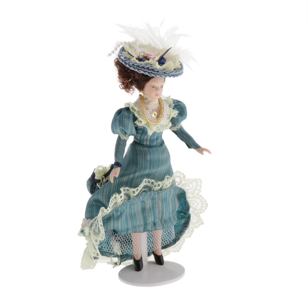 Dollhouse Miniature Victorian Lady With Green Lady Dress And Feathered Hats, 1/12 Porcelain People Doll