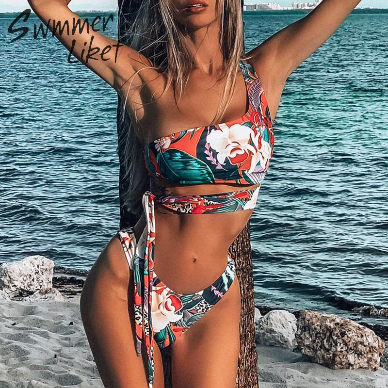 <font><b>Sexy</b></font> <font><b>one</b></font> shoulder bandeau bikini <font><b>2019</b></font> Bandage flower print 3-<font><b>piece</b></font> <font><b>swimsuit</b></font> female High cut <font><b>swimwear</b></font> <font><b>women</b></font> Push up biquini new image
