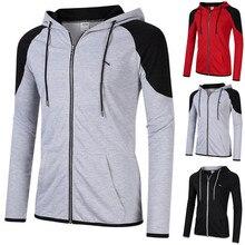1 X  Sweatshirt Tops Four Season Fashion Men Casual Patchwork Long Sleeve Hooded Outwear M0926