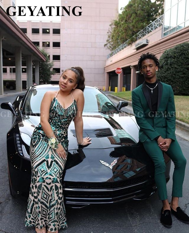 Sexy V-Neck Backless Mermaid Emerald Green Prom Dresses With Straps Black Girl Graduation Gowns Plus Size Semi Formal Gala Dress