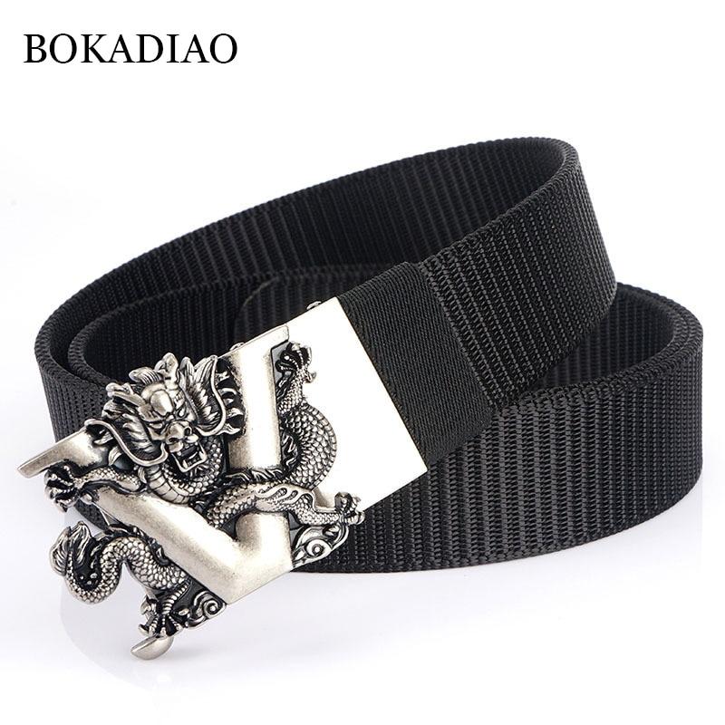 BOKADIAO Men&women Nylon Belt Dragon Metal Automatic Buckle Canvas belts Casual jeans Waist Belts Army military sport male strap