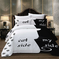 Cat side my side Words Bedding set Duvet Cover With Pillowcases Twin Full Queen King Size Bedclothes 3pcs home textile