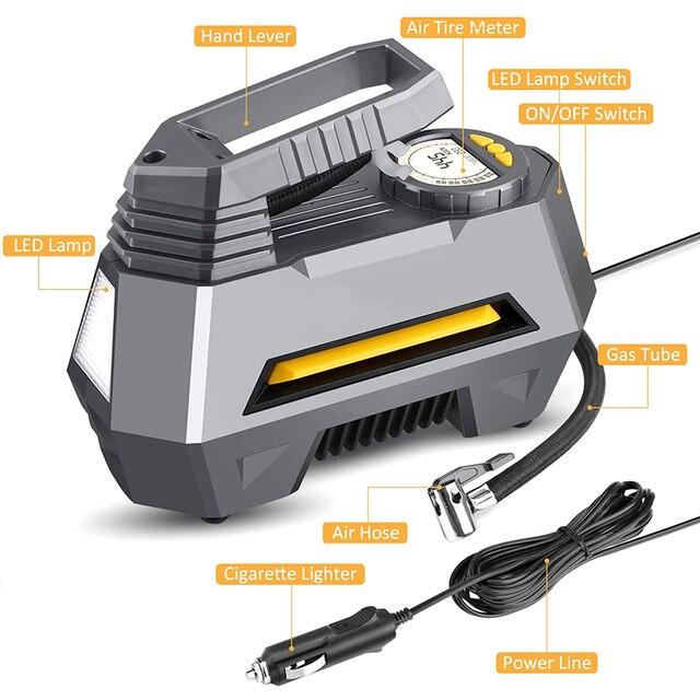 Pompe à Air Portable numérique pour pneus, avec lumière LED balles, système de gonflage automatique pour roues, compresseur, 12V DC