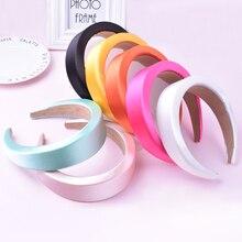 4CM Satin Padded Headbands For Women Girls Plastic Hair Band