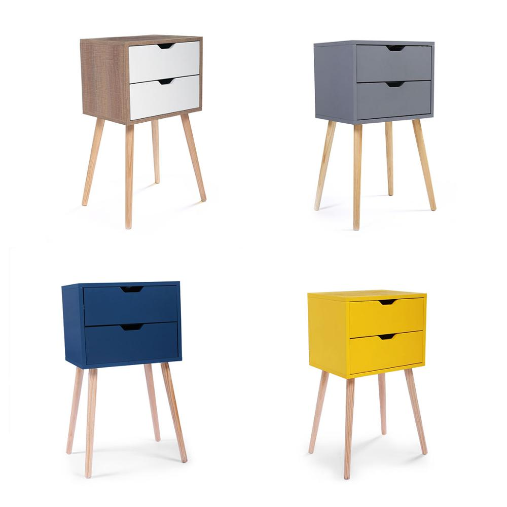 Solid Color End Table Nightstand Storage Wood Bedroom Table 2 Drawers Durable Sturdy Nightstand Fashion Business Style JJ0024