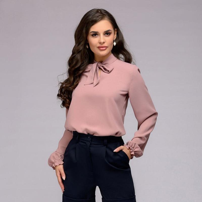 Elegant Bow Tie Women Shirt Spring Autumn Ladies Solid Long Sleeve Chiffon Shirts Casual Blouses Vintage Tops Blusas