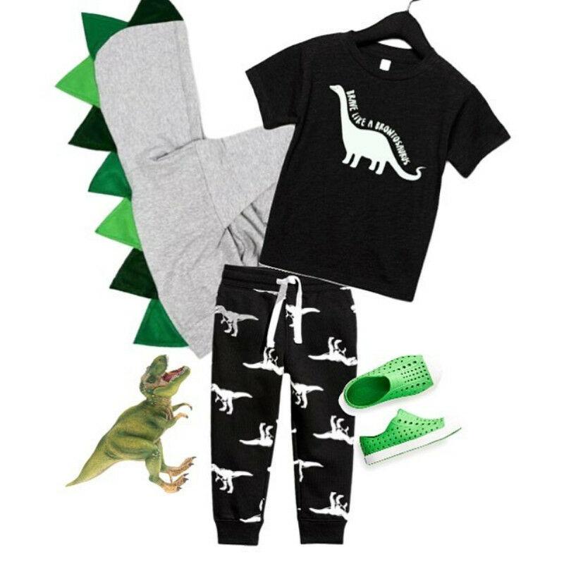 Pudcoco Boy Set 6M-5Y Dinosaur Toddler Kid Baby Boy Cartoon Tops T-shirt Pants Legging Outfits Clothes