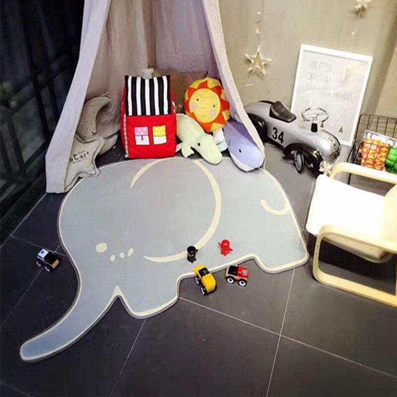 Dessin animé éléphant bébé tapis de jeu épais daim salon tapis enfants enfants chambre tapis écologique couverture bébé jouer tapis de gymnastique