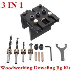 3 In 1 Punch Positioner Dowelling Jig 6/8/10/15mm Drilling for Furniture Fast Connecting Woodworking Drill Guide Kit Location