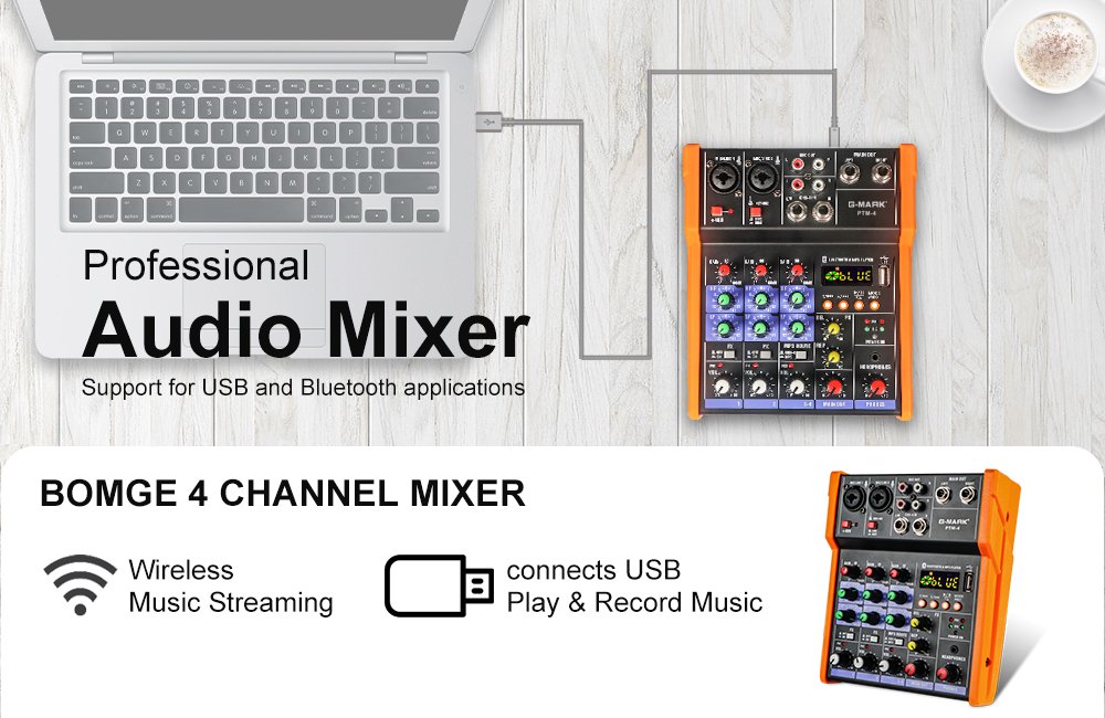 G-MARK PTM-4 Audio Mixer Mixing DJ Console With Sound Card USB 48V Phantom Power For PC Recording Singing Webcast Party