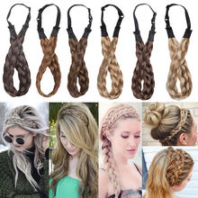 S-noilite Bohemian Plaited headband Braids Hair with adjustable belt synthetic hairpiece hair for woman hair style accessories(China)