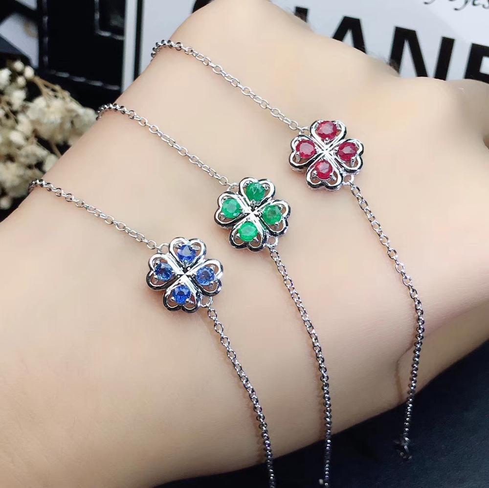 Beau bracelet vert émeraude/bleu saphir/cer rubis pierres précieuses pour les femmes argent ornement bijoux fins gemme naturelle chaude