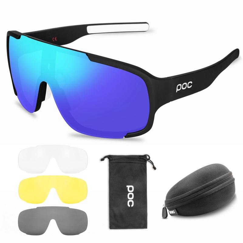 4 Lenses POC Cycling Sunglasses MTB Polarized Outdoor Sports Glasses Men Women Mountain Bike Eyewear TR90 Bicycle Goggles