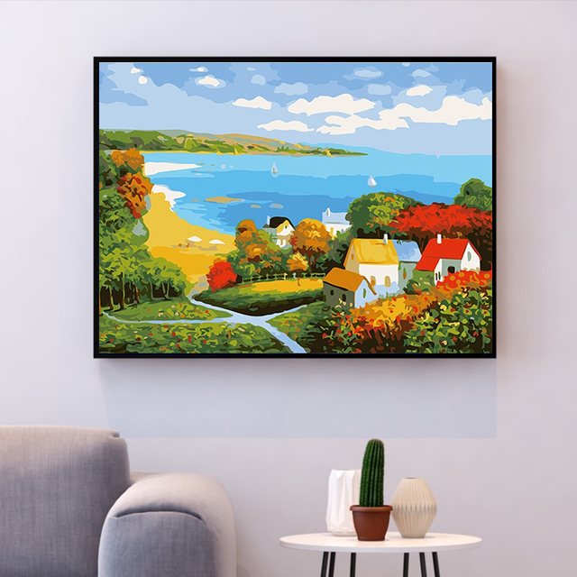 Painting By Numbers Sea Scene Country Cottage Bright Colours