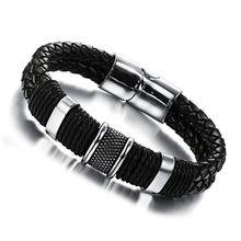 Кожаный плетеный металлический браслет для мужчин и женщин браслеты