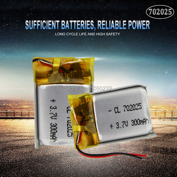 2pc 3.7V 220mAh 702025 Li-polymer Rechargeable Battery for Mp3 Bluetooth headset speaker video recorder wireless mouse image