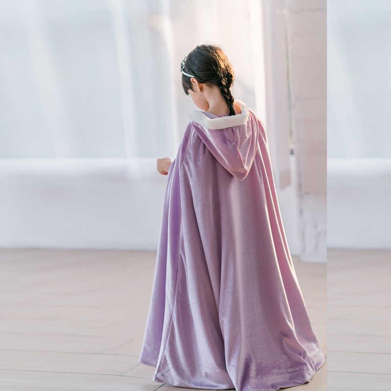 冬の女の子ベルベット姫ロングマントファンシーパーティー衣装子供コスプレハロウィン用品フード付き岬