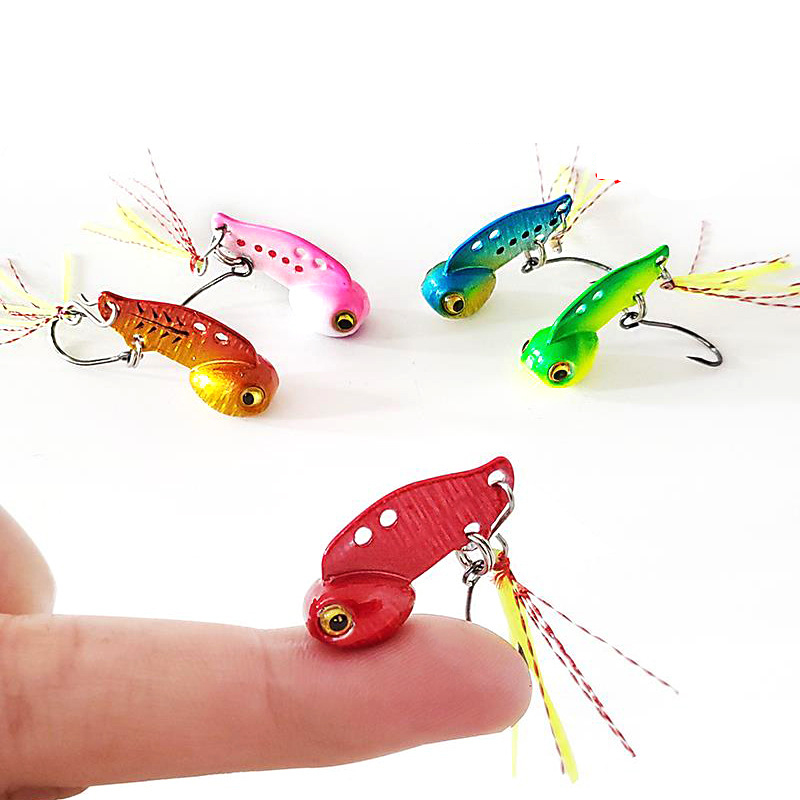 Metal Mini VIB With Rainbow Feather Fishing Lure 3g 6g Pin Crank Bait Vibration Spinner Sinking Bait Fishing Tackle